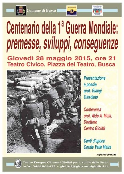 Centenario della 1ª Guerra Mondiale: premesse, sviluppi, conseguenze a Busca