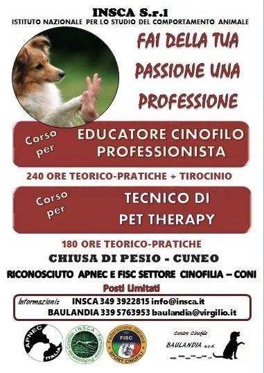 corsi per Educatore Cinofilo Professionista e Pet Therapy