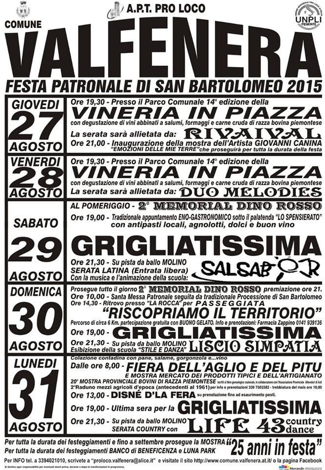 Festa di San Bartolomeo 2015 a Valfenera