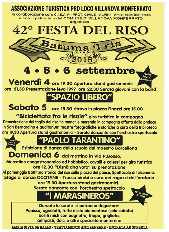 Batuma 'l ris - Festa del Riso 2015 a Villanova Monferrato
