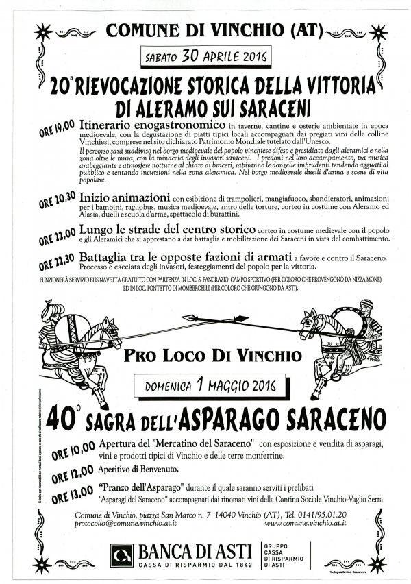 Sagra dell'Asparago Saraceno 2016 a Vinchio