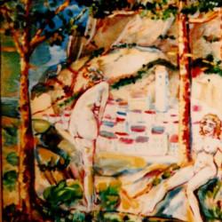 Bagnanti; olio; 50x70 cartone. (metà degli anni 90)