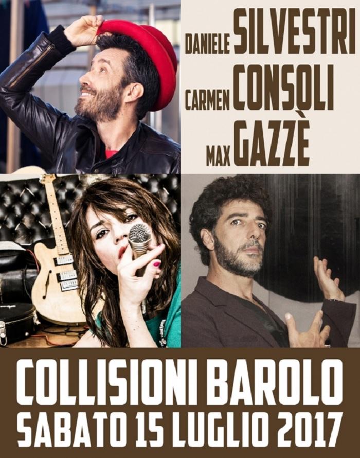Daniele Silvestri, Carmen Consoli e Max Gazzè a Collisioni 2017 di Barolo