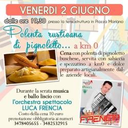 VENERDI 2 GIUGNO A BUSCA: CENA con polenta di Pignoletto,...