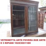 Vetrinetta due ante arte povera con 3 ripiani 30x102x118h €60...