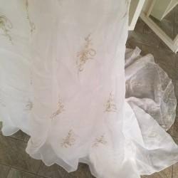 abito da sposa bianco nuovo scollo a V con ricami...