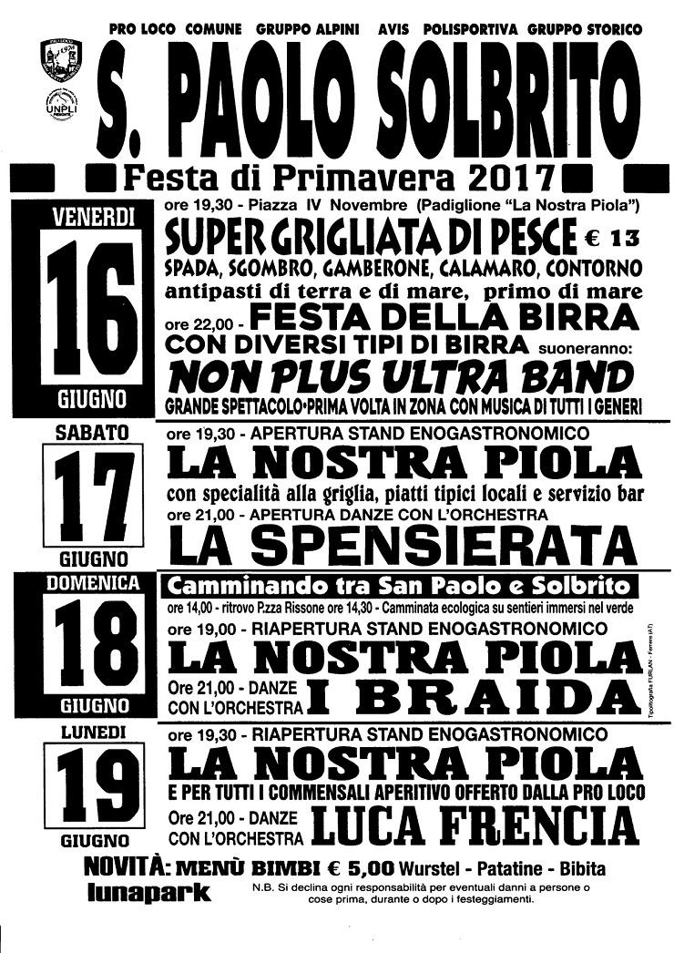Festa di Primavera 2017 a San Paolo Solbrito