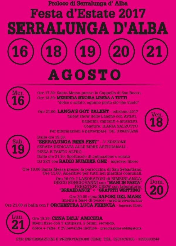 Festa d'estate 2017 a Serralunga d'Alba