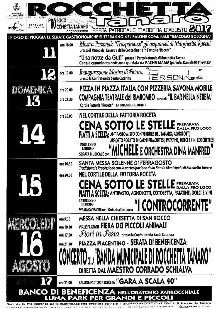 Festa della Madonna d'Agosto 2017 a Rocchetta Tanaro