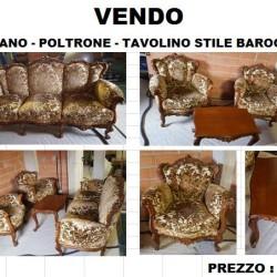 Vendo Divano - Poltrone e tavolino stile Barocco causa nuova...
