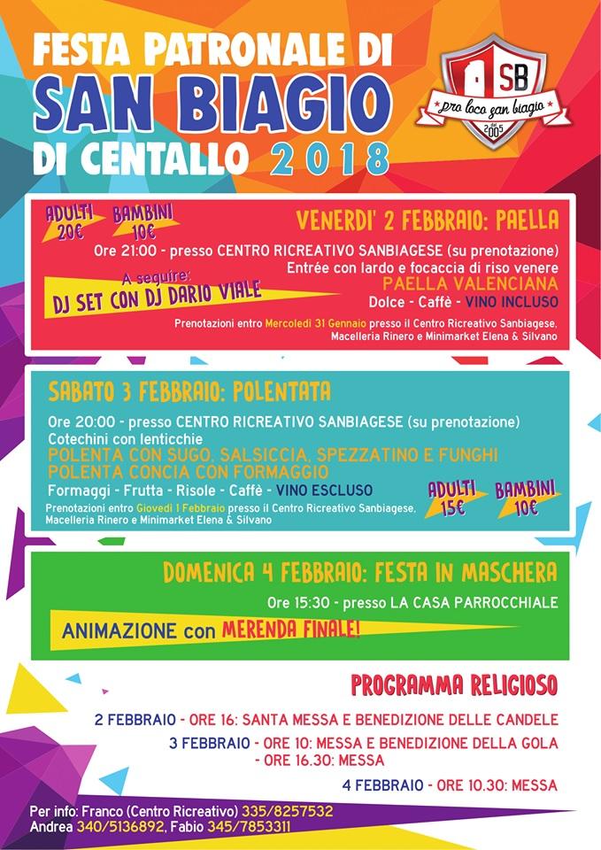 Festa patronale di San Biagio di Centallo 2018