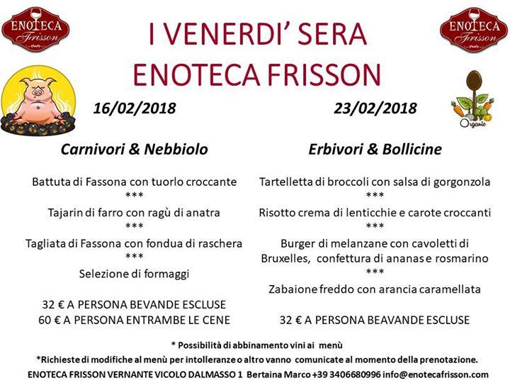 Le Cene Del Venerdì Sera All' Enoteca Frisson