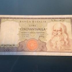 Banconota 50000 lire Leonardo 1967 R3 SPL €199 - 12040...
