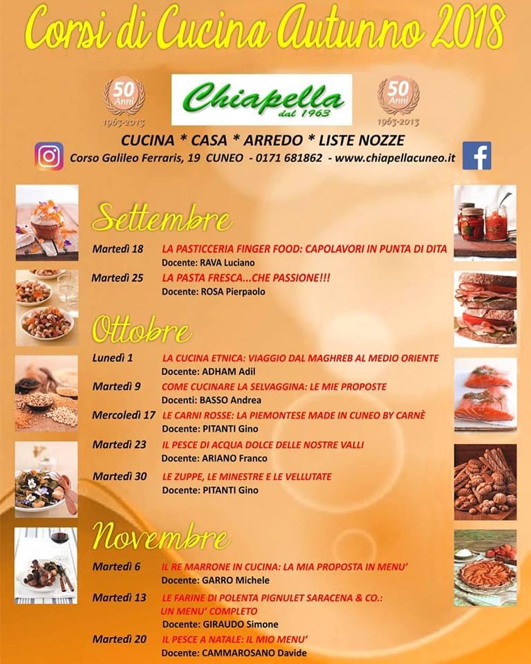 Corsi di cucina da Chiapella di Cuneo - Autunno 2018