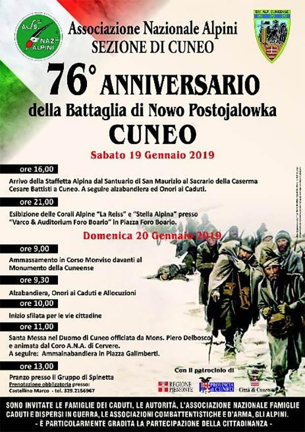 CUNEO: Anniversario della battaglia di Nowo Postojalowka 2019