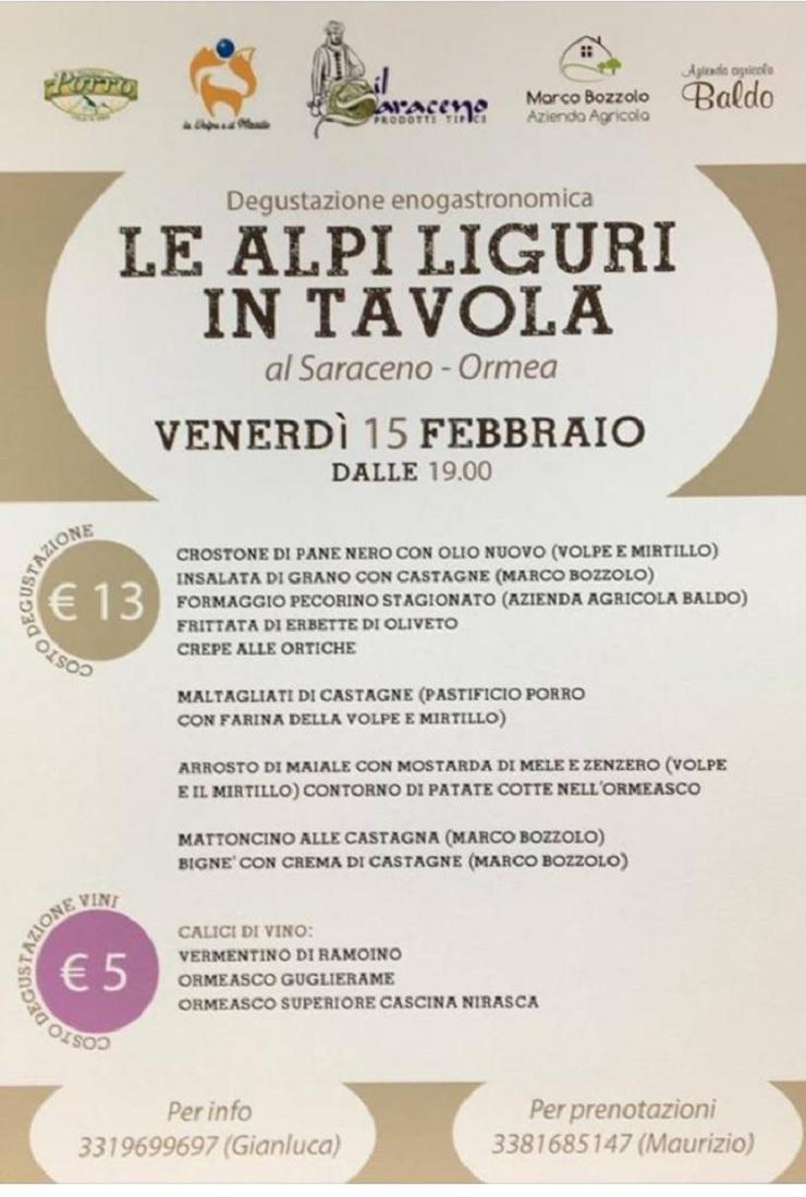 ORMEA: Le Alpi Liguri in tavola all'enoteca Il Saraceno