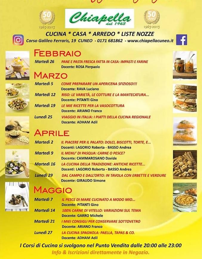 Corso di cucina di Chiapella a Cuneo - Primavera 2019