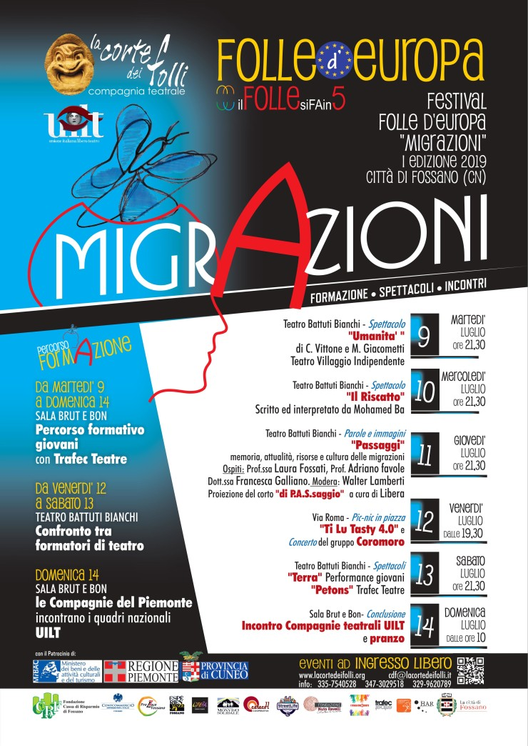 FOSSANO: Migrazioni - spettacoli e incontri di formazione con la Corte dei Folli