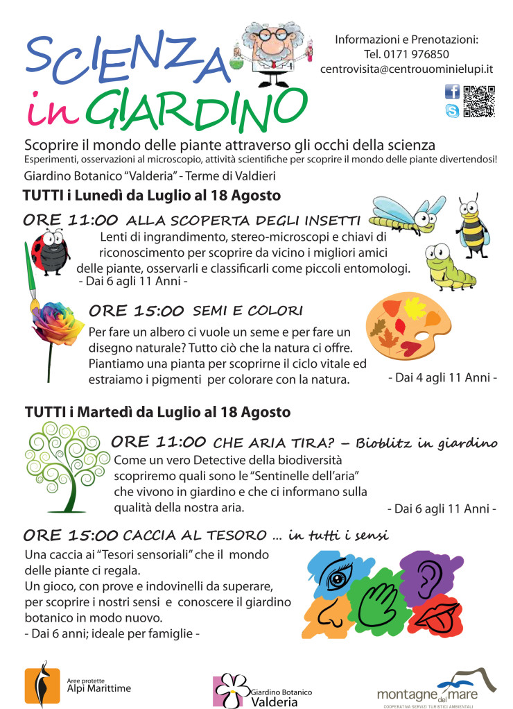"""VALDIERI: Scienza in giardino - """"Alla scoperta degli insetti"""" e """"Semi e colori"""""""