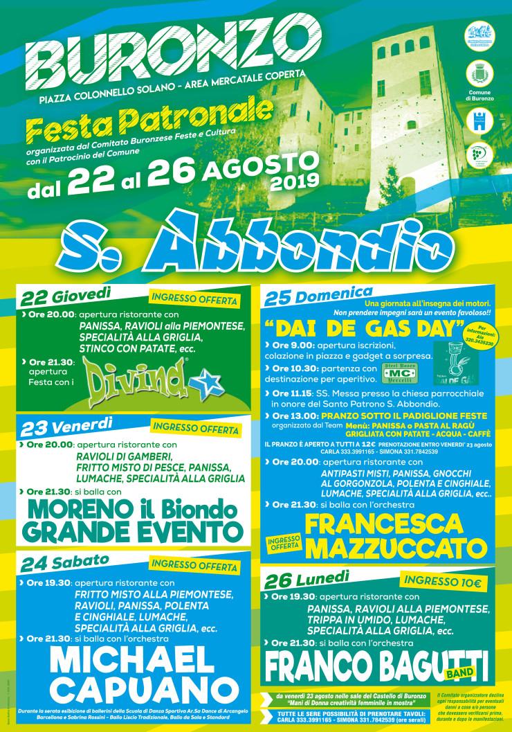 BURONZO (VC): Festa patronale di San Abbondio 2019