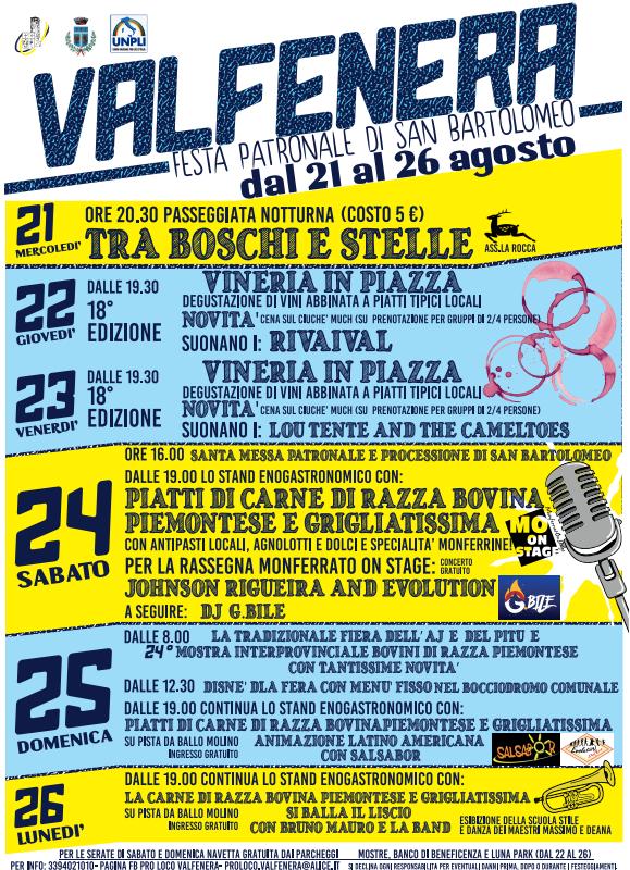 VALFENERA (AL): Festa di San Bartolomeo 2019