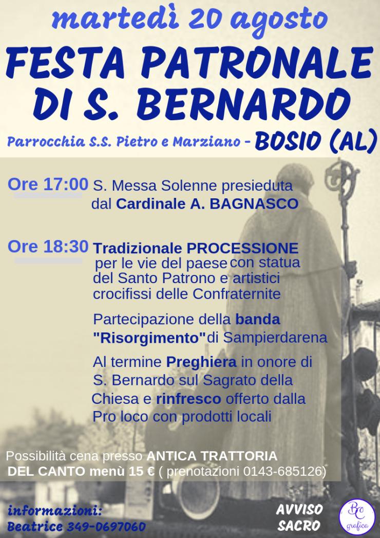 BOSIO (AL): Festa di San Bernardo 2019