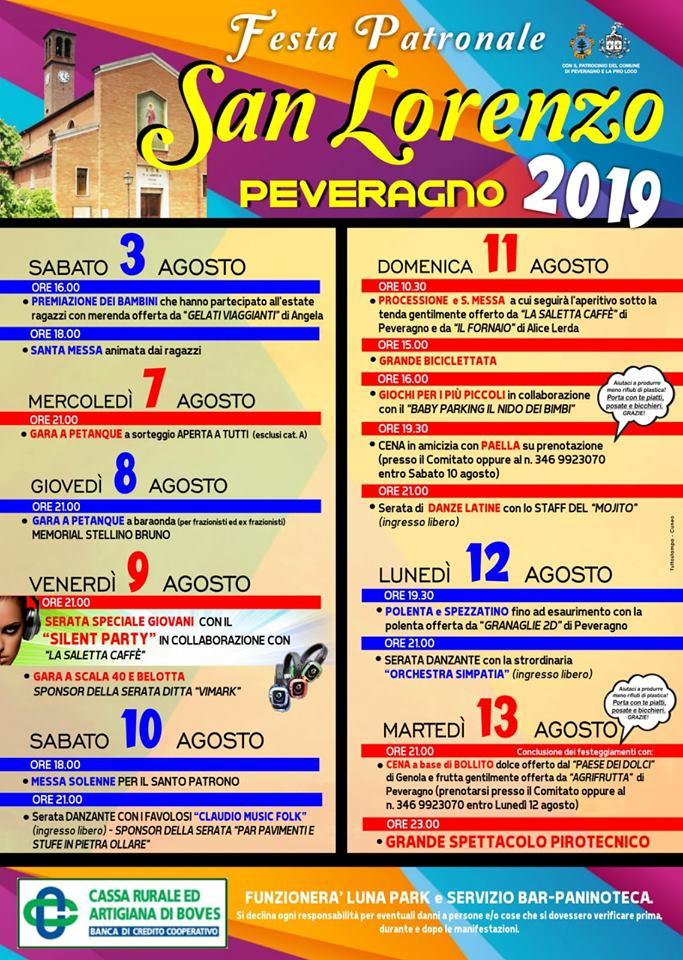 3765ba1f4ece PEVERAGNO: Festa di San Lorenzo 2019 - Annunci Eventi provincia di Cuneo