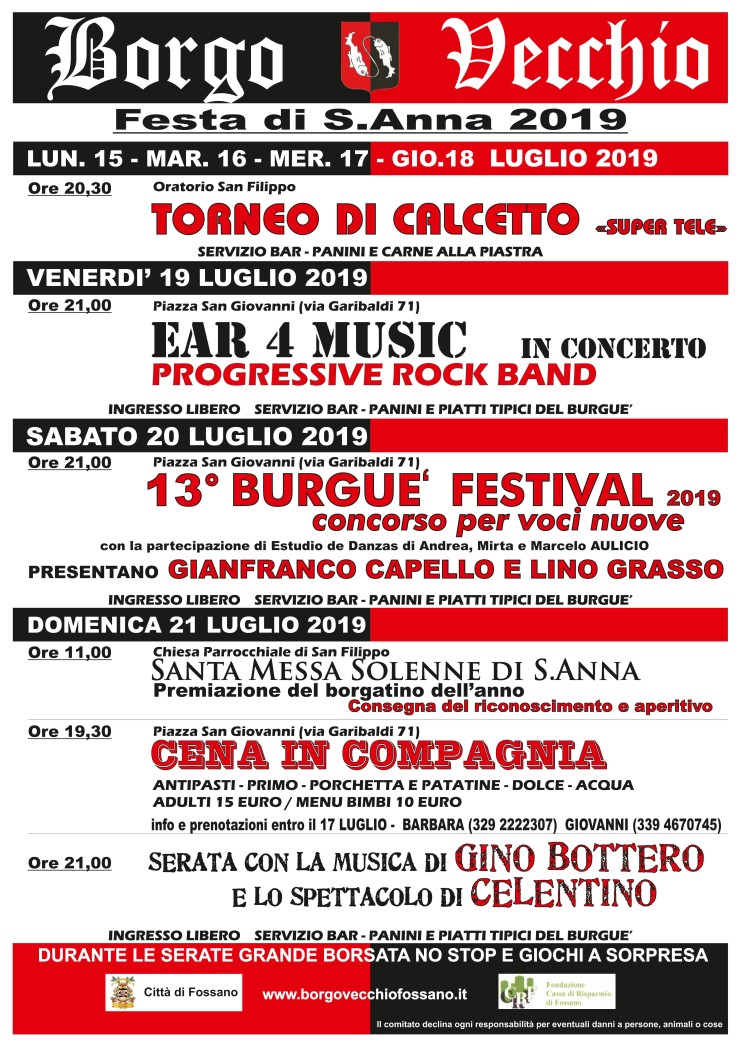 FOSSANO: Festa di Sant'Anna 2019 in Borgo Vecchio