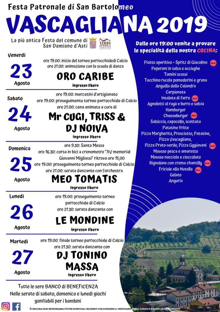 SAN DAMIANO D'ASTI (AT): Festa di San Bartolomeo 2019 a Vascagliana