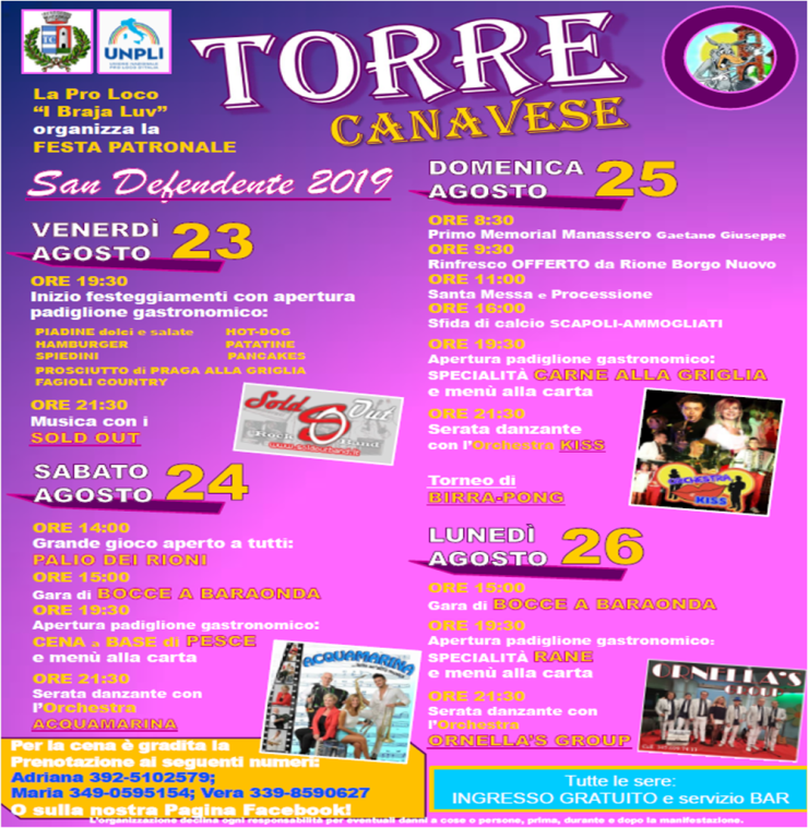 TORRE CANAVESE (TO): Festa di San Defendente 2019