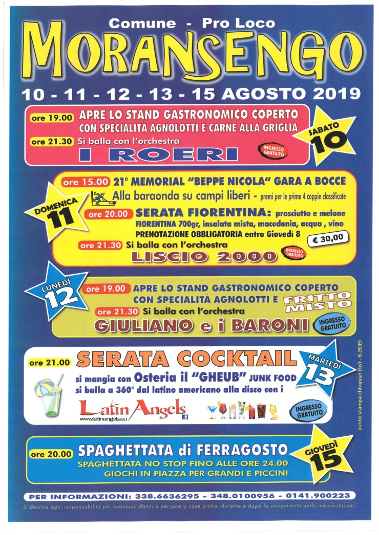 MORANSENGO (AL): Festa d'estate 2019