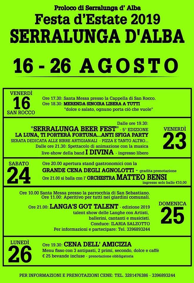 SERRALUNGA D'ALBA: Festa d'Estate 2019