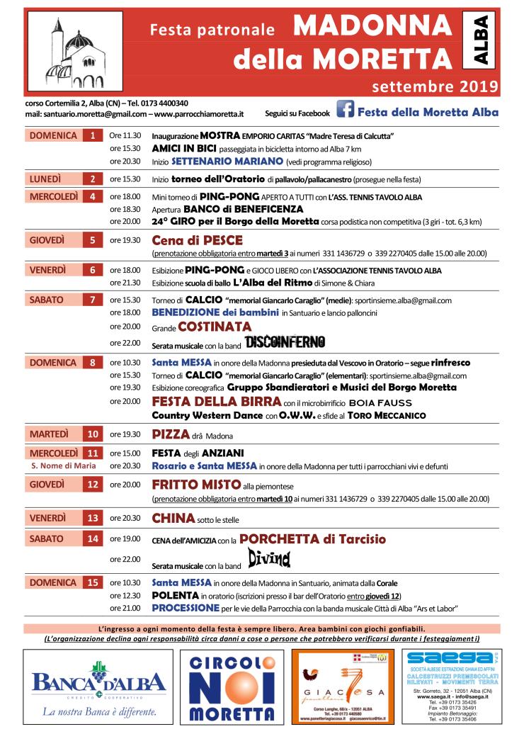 ALBA: Festa patronale Madonna della Moretta 2019