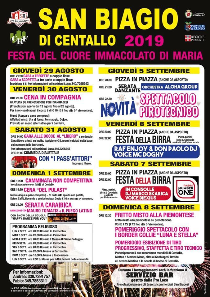 CENTALLO: Festa del cuore immacolato di Maria 2019 a San Biagio