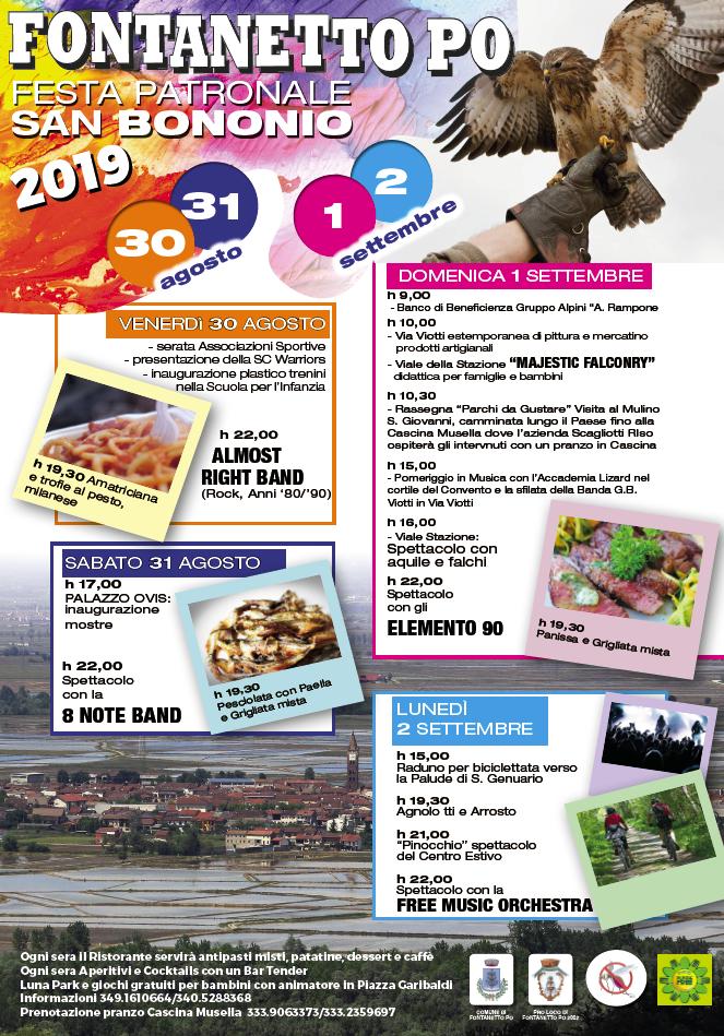 FONTANETTO PO (VC): Festa patronale di San Bononio 2019