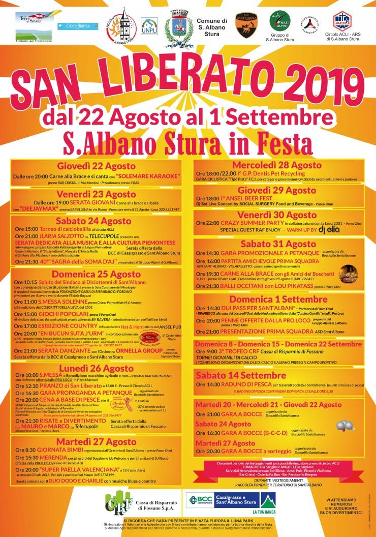 SANT'ALBANO STURA: Festa di San Liberato 2019