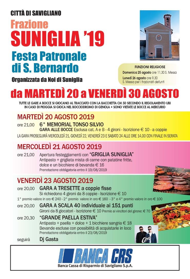 SAVIGLIANO: Festa di San Bernardo 2019 in frazione Suniglia