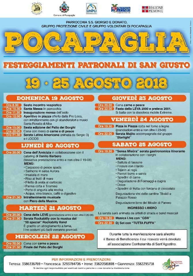POCAPAGLIA: Festeggiamenti patronali di San Giusto 2019