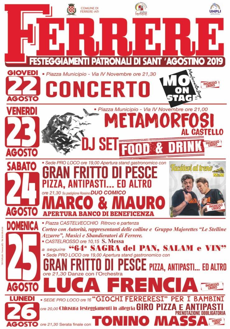 FERRERE (AT): Festeggiamenti patronali di Sant'Agostino 2019