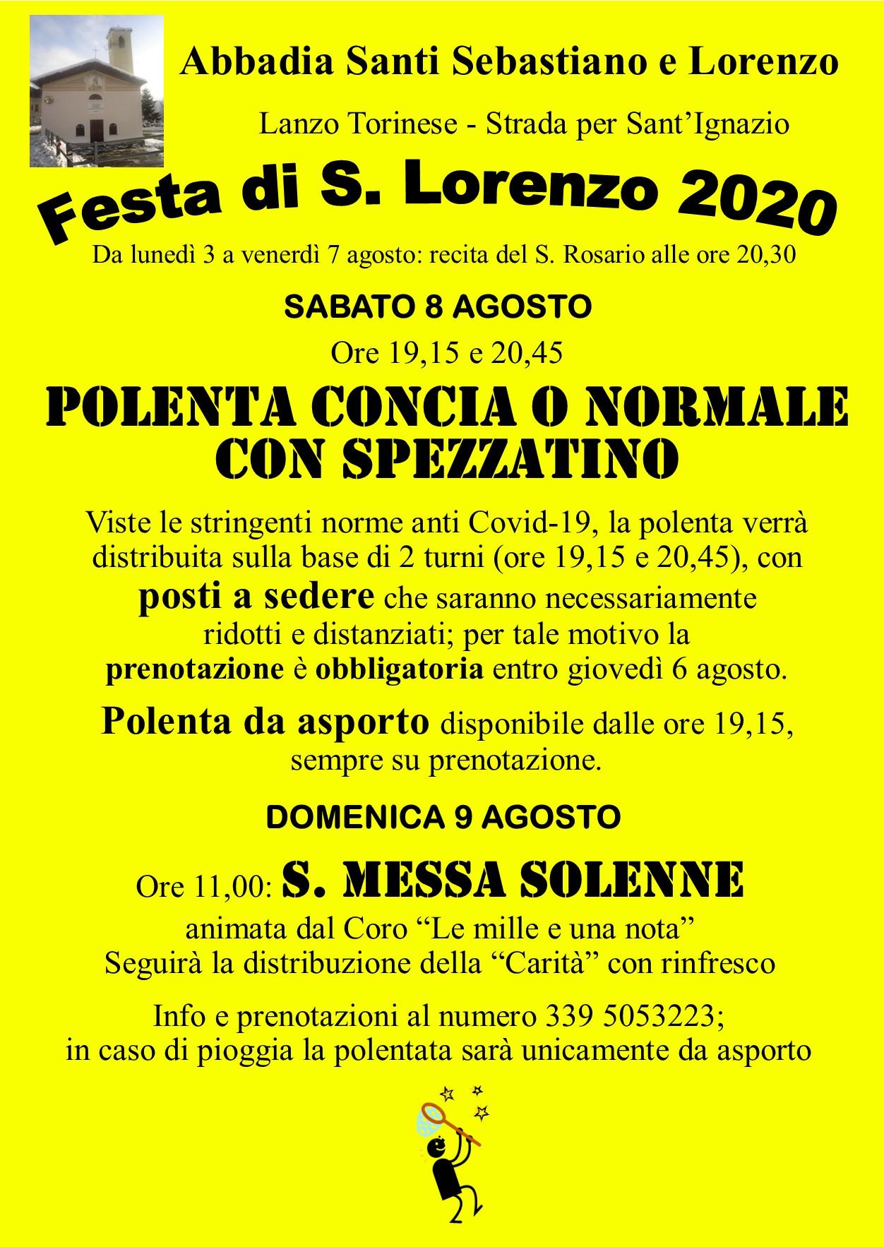 LANZO TORINESE (TO): Festa di San Lorenzo 2020